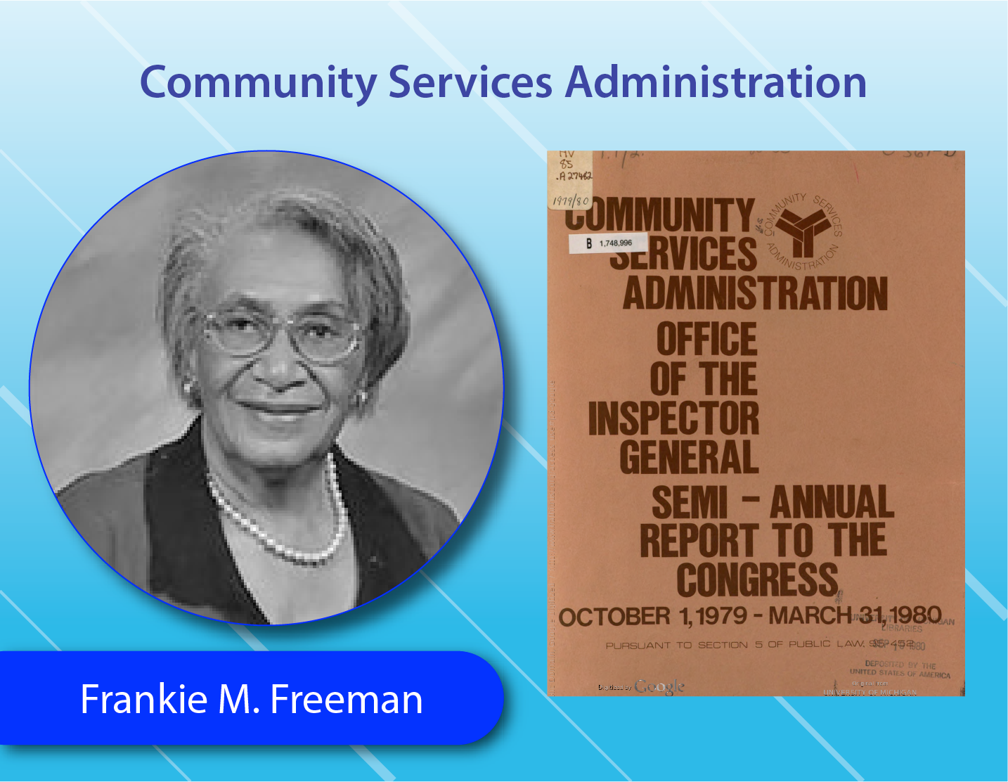 Community Services Administration - Frankie M. Freeman